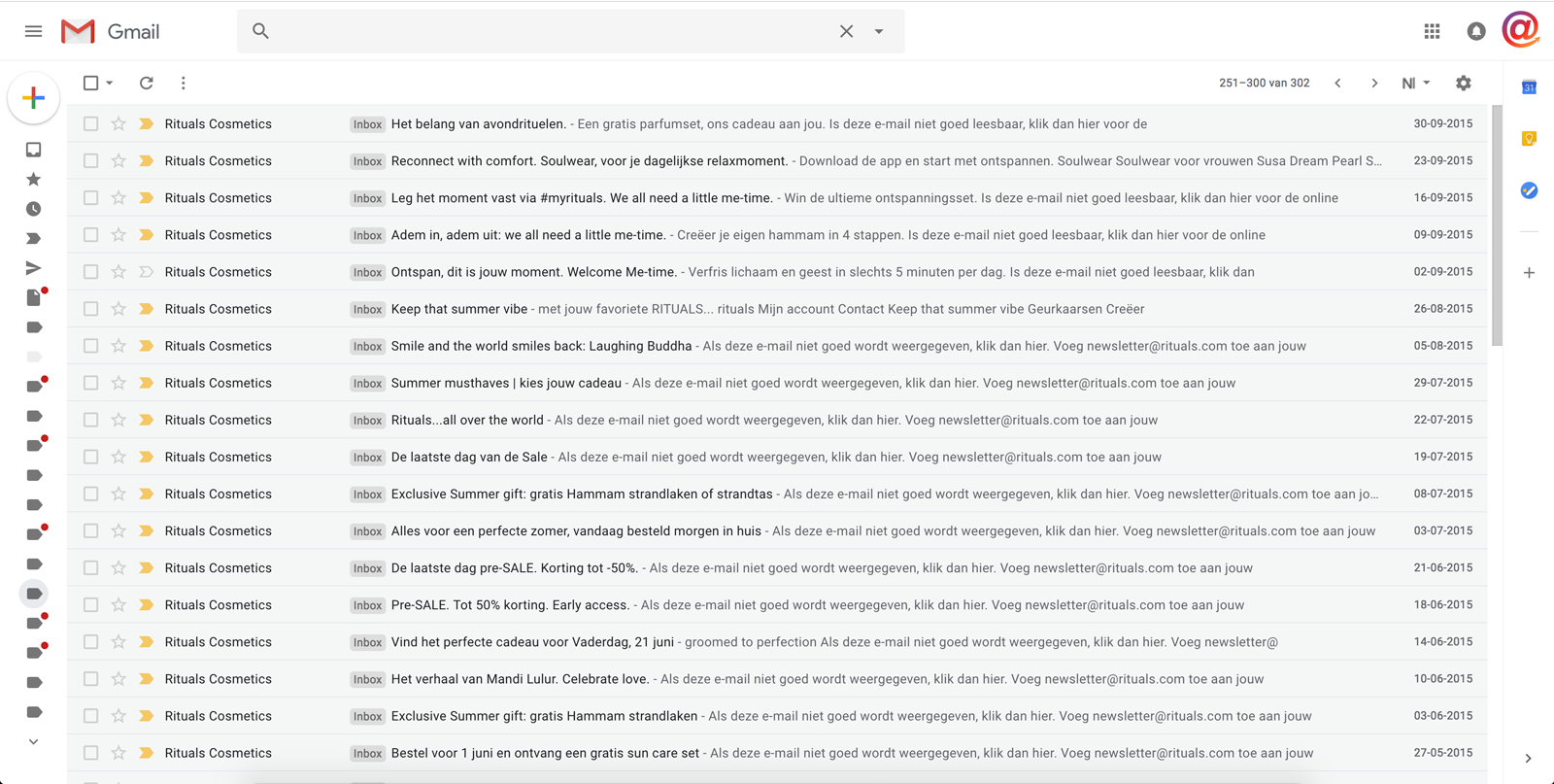 Rituals email marketing inbox