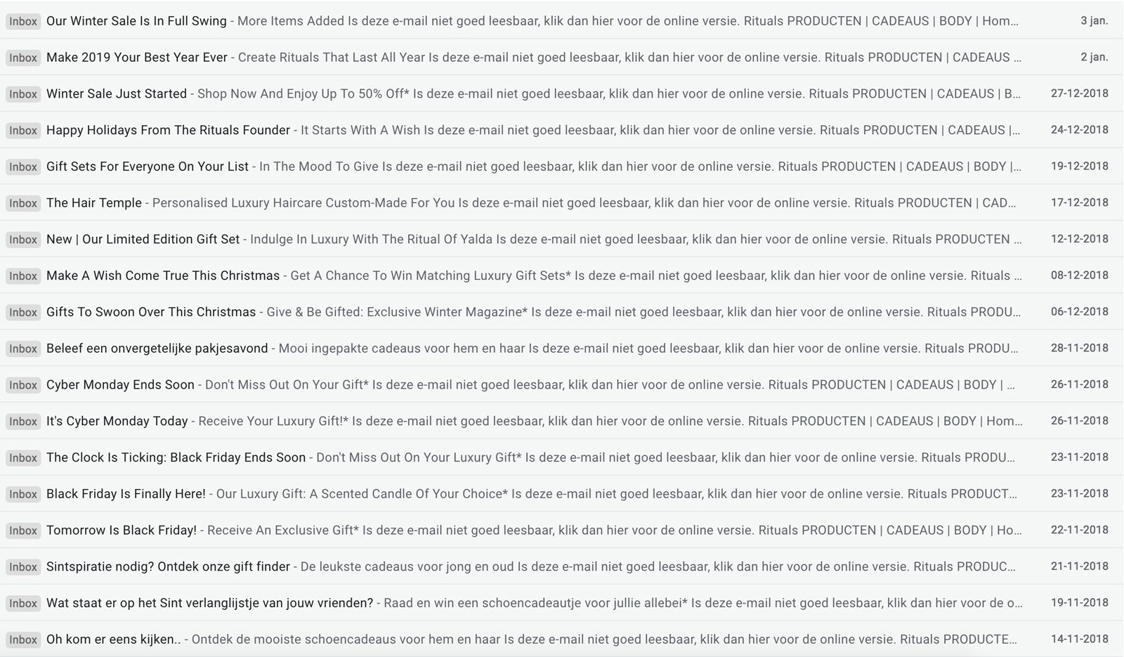 Rituals email marketing inbox from name